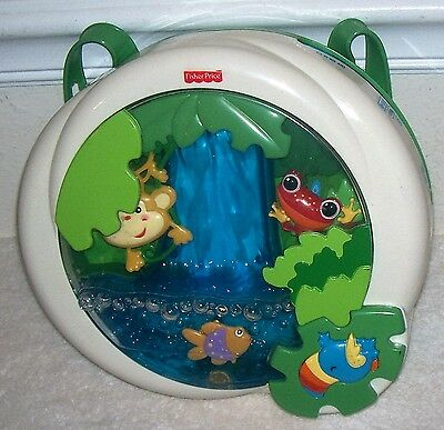 "Fisher Price Rainforest Waterfall CRIB SOOTHER, Lights, Music + 4  ""C"" Batteries"