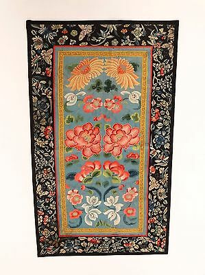 ANTIQUE CHINESE FINE EMBROIDERED FORBIDDEN STITCH PANEL Floral Butterflies