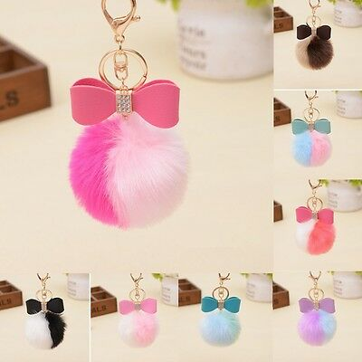 Charm Leather Bow Rex Rabbit Fur Pom Pom Ball Keychain Handbag Pendant Keyring