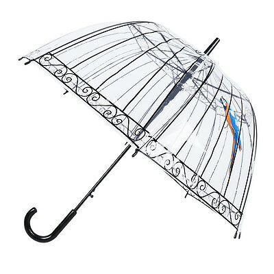 Transparent Clear Dome Automatic Rain Umbrella Parasol Bird Cage Wedding Party