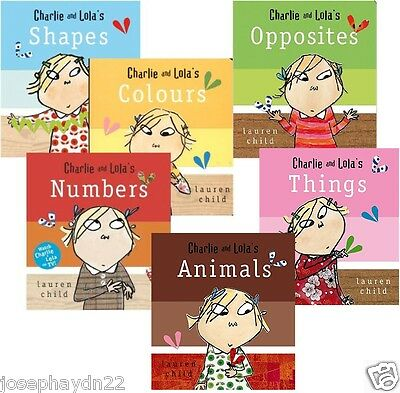 NEW x 6 CHARLIE AND LOLA ( BOARD BOOKS) ANIMALS NUMBERS OPPOSITES COLOURS SHAPES