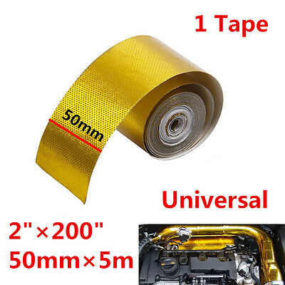 Gold 1200°f Continuous Car Auto High Temperature Heat Shield Wrap Protector Tape