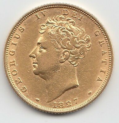 Rare 1827 George IV Gold Sovereign - Great Britain.