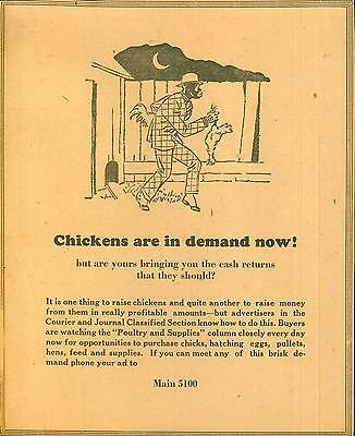 "Advertisement Black Americana ""Chickens are in demand now!!"" Newspaper IND 1930"