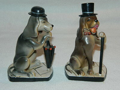 Pair Vintage Porcelain Hound Dog Figurines Japan Top Hat & Cane Derby & Umbrella
