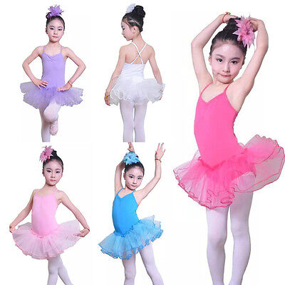 Kid Girl Ballet Tutu Dress Skirt Leotard Gymnastics Ballerina Dance Wear Costume
