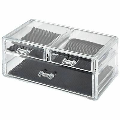 Clear Acrylic Beauty Cosmetic Organiser Makeup Drawers Tray Display Box Case