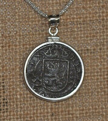 Authentic 1627 Pirate Copper Cob 12 Maravedis Coin 925 Sterling Silver Necklace