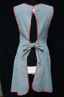 ANTIQUE EARLY 1900s HOME SPUN ? COTTON GINGHAM FULL DRESS WRAP AROUND APRON