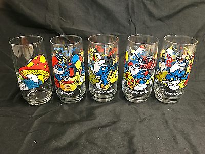 Set of 5 ~ 1983 Smurf Character Glass Tumblers Peyo, Wallace Berrie & Co. 5 7/8""