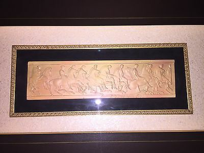 Vintage Greek Roman Terracotta Art Tile Framed Men on Horseback