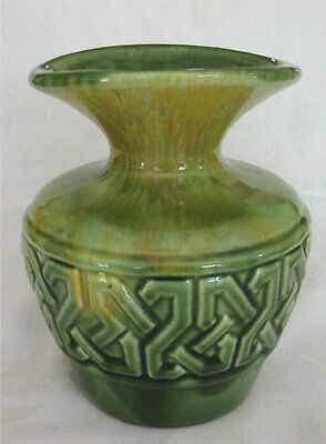 "Vintage Haeger Pottery Vase, Glossy Green Yellow Drip, Raised Design, 7"" High"