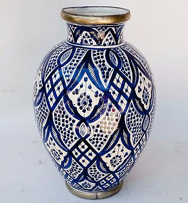 Large Vintage Blue White Vase Ceramic Pottery Hand Painted