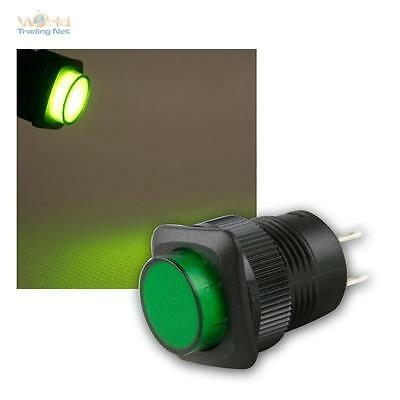 Press Button with LED-Lighting Green, Max 1A/250V, Switch Illuminated Switch