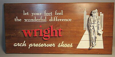 Vintage Funky 1950s Wright Shoes Sign w/3D Lettering & 3D Figure Of A Man