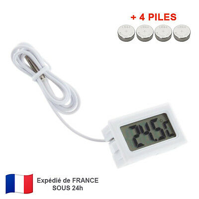 Thermomètre Digital LCD Encastrable avec Sonde Aquarium Piscine Frigo Serre+Pile