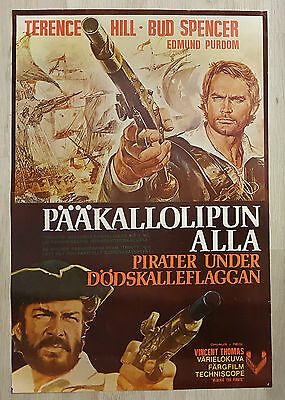 1972 Vintage Finnish Blackie The Pirate Movie Poster Terence Hill Bud Spencer