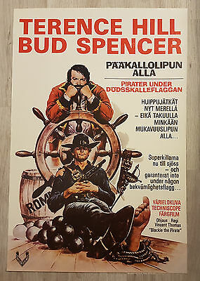 1970s VINTAGE FINNISH BLACKIE THE PIRATE MOVIE POSTER TERENCE HILL BUD SPENCER