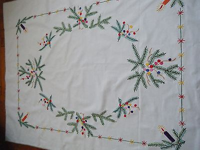 ANTIQUE CHRISTMAS German Tablecloth hand embroidery candles & greenery branches