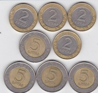8 x LITHUANIA 2 & 5 LITAI  BI-METAL COINS 1998 to 1999 LOOK nice LOT