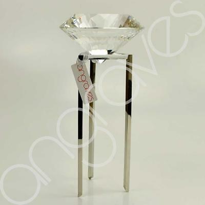 Large Diamond Cut Glass on Stand Statement Decoration (32cm)