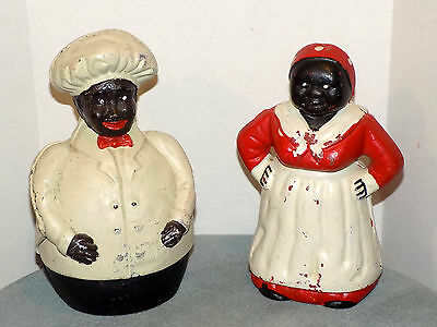 Vintage Cast Iron Bank  'TWO'  Cast Iron Banks    Aunt Jemima  &  Jolly Fat Chef