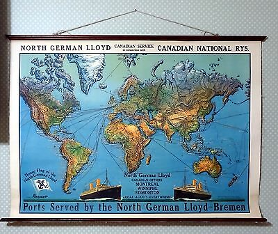 Authentic Vintage 1920s North German Lloyd Large Canvas Shipping Routes Wall Map