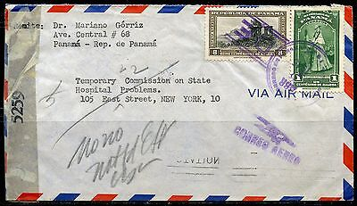 Panama 1945 Censored Cover To New York