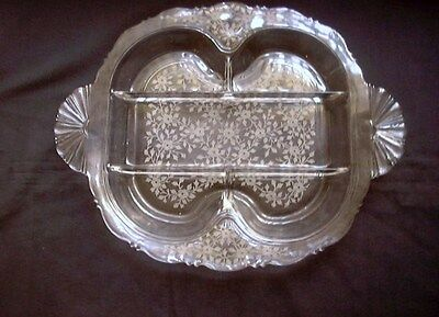 Vintage Elegant Fostoria Etched Small Flowers & Leaves Clear 5 Pt Relish  Nr