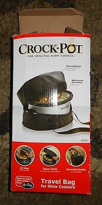 Crock Pot Travel Bag 7-Quart Slow Cooker Black Kitchen Food Storage Party To Go