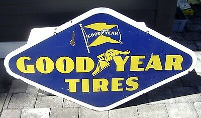 "1953 GOODYEAR TIRES Gas Station Sign -- 54"" double sided porcelain -- '53 tire"