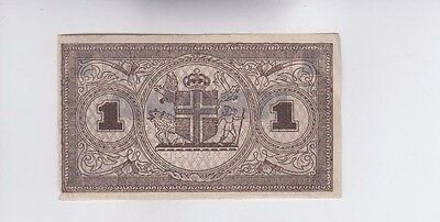 Iceland Paper Money one old note ef-au