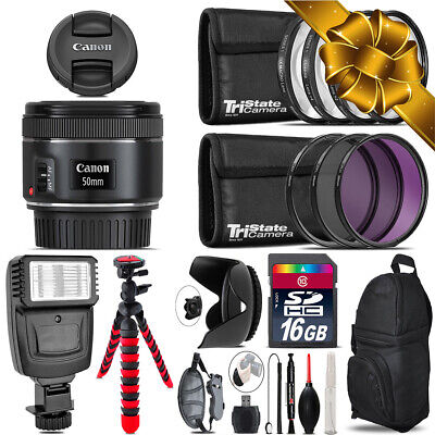 Canon EF 50mm f/1.8 STM Lens + Flash +  Tripod & More - 16GB Accessory Kit