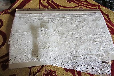 STUNNING LENGTH ANTIQUE FRENCH CREAM SWAGS N TAILS WEDDING LACE 14ft c1910