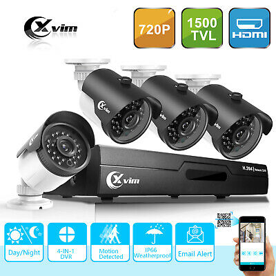 XVIM 4CH 720P IP Network NVR PoE IR Night Home Security CCTV Camera System kits