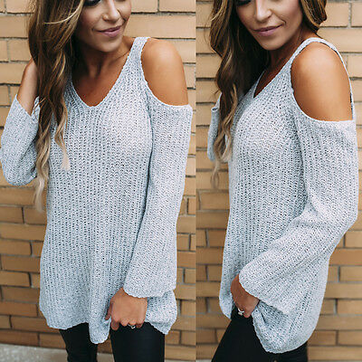 US Stock Women Knitted Jumper Gray Sweater Tops Pullover Knitwear Long Tops