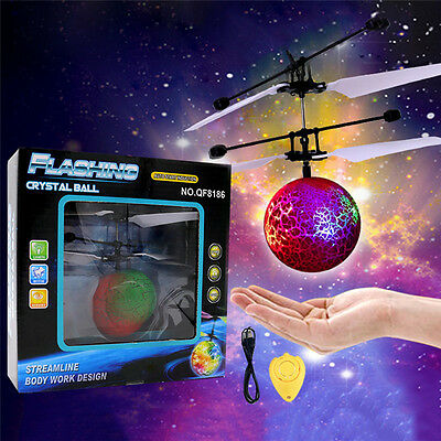 Magic Flash LED Light Flying Ball UFO Infrared Induction RC Helicopter Kid Toy