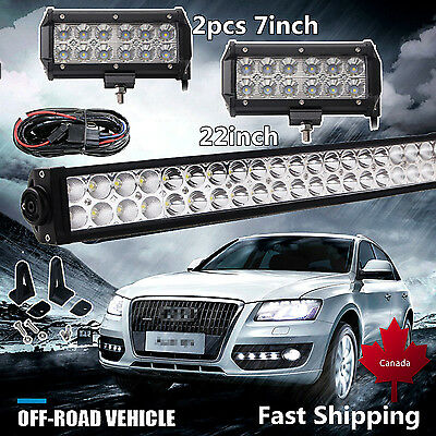 """22Inch LED Light Bar Combo +2 x 7"""" CREE PODS OFFROAD SUV 4WD ATV FORD JEEP 50"""""""