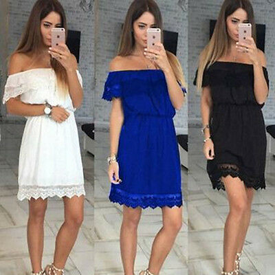 Womens Off Shoulder Lace Summer Mini Dress Ladies Party Casual Short Dress