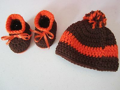 Adorable hand-crocheted baby set CLEVELAND BROWNS colors, hat & booties, so cute