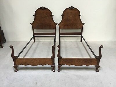 Pair Of Antique Walnut Single Beds Can Make King Size Bed rare Design