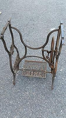 Antique New Home Treadle Sewing Machine Cast Iron Base Industrial Age Table