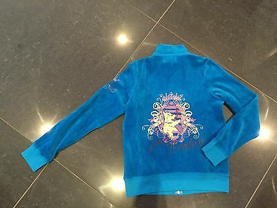 NWT Juicy Couture New & Genuine Girls Age 8 Blue Velour Jacket With Juicy Logo