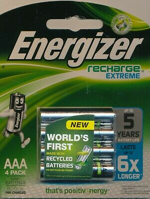 Energizer 4-pack Recharge Extreme Rechargeable Batteries AAA 1.2V 800mAh NiMH