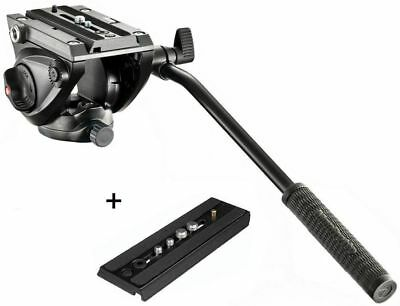 Manfrotto MVH500AH Fluid Video Tripod Head with Flat Base & Extra Sliding Plate