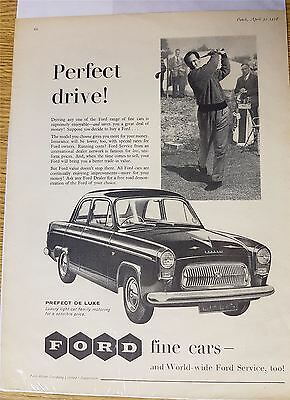 Ford Fine Cars Motoring And Golf Advert Print 1958