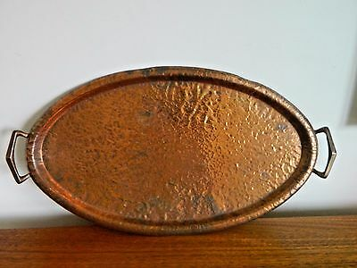 Stunning Large Antique Oval  Copper Tray Arts and Crafts Lovely item!