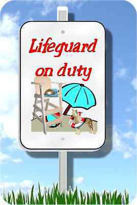 "Chinese Crested lifeguard on duty sign metal novelty 8""x12"" pool yard dog"