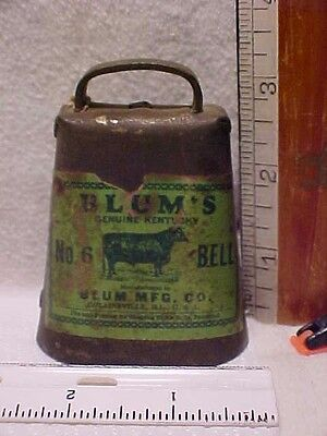 Old Paper Label Blums Genuine Kentucky #6 Cow Bell Blum Mfg Co Collinsville Ill