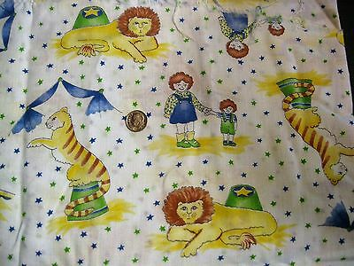 """Vintage Children's NOVELTY PRINT Fabric~72""""x44""""~CIRCUS SCENES~Lions,Tigers,Bears"""